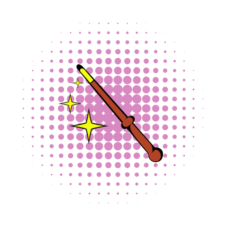 Magic wand icon in comics style on a white background