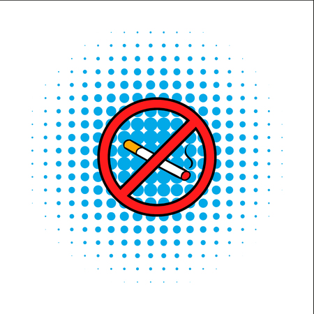 warning signs: Badge no smoking comics icon isolated on a white background