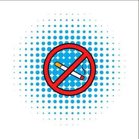 signos de precaucion: Insignia icono de c�mics sin fumar aislado en un fondo blanco