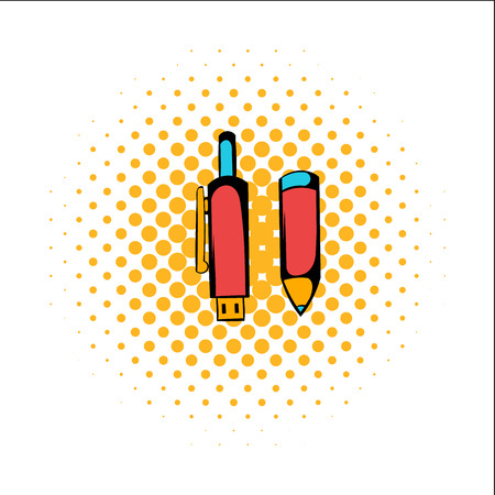 hearing protection: Pen gun comics icon isolated on a white background Illustration