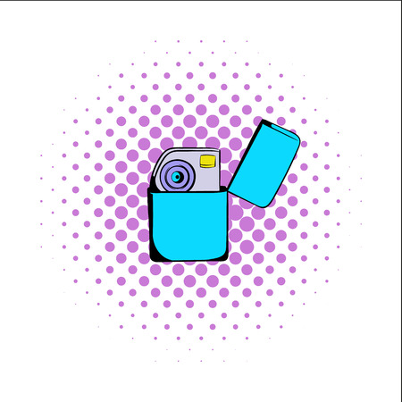 igniter: Petrol lighter comics icon isolated on a white background Illustration