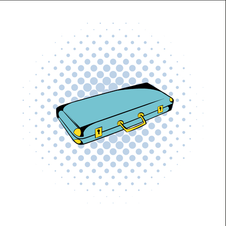 organized crime: Suitcase for weapons comics icon isolated on a white background