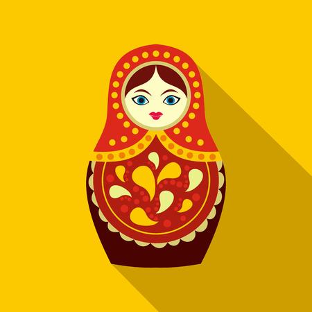 matrioska: Russian matryoshka icon in flat style on a yellow background