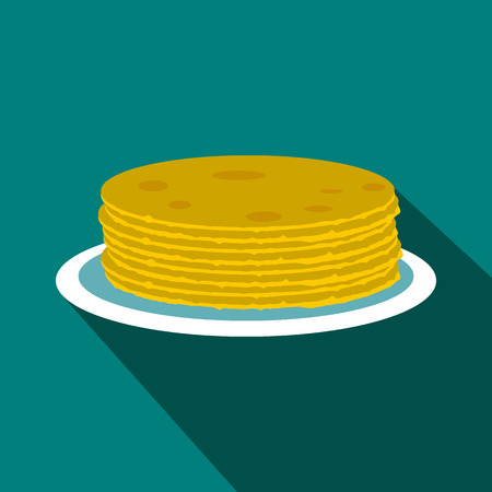 russian cuisine: Roasted pancakes  icon in flat style on a blue background Illustration