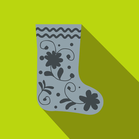 felt: Russian traditional winter felt boots icon in flat style on a green background