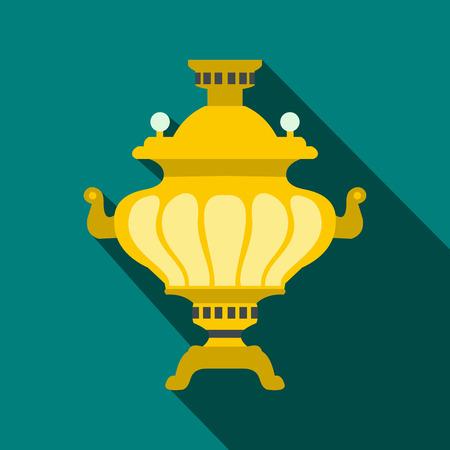 samovar: Samovar icon in flat style on a blue background
