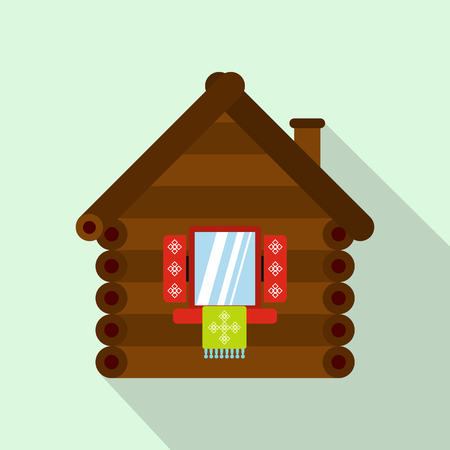 peasant household: Wooden house icon in flat style on a light blue background