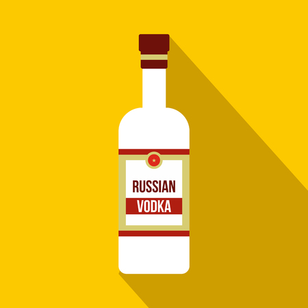 distill: Bottle of vodka icon in flat style on a yellow background Illustration