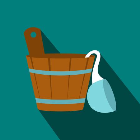 bath tub: Russian bath tub icon in flat style on a blue background