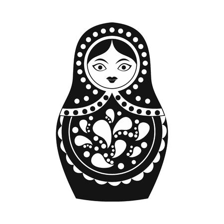 matreshka: Russian matryoshka icon in simple style isolated on white