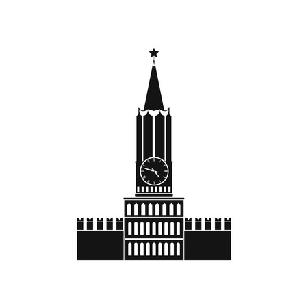spasskaya: Spasskaya tower of Moscow Kremlin icon in simple style isolated on white