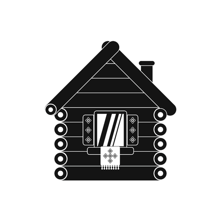 peasant household: Wooden house icon in simple style isolated on white