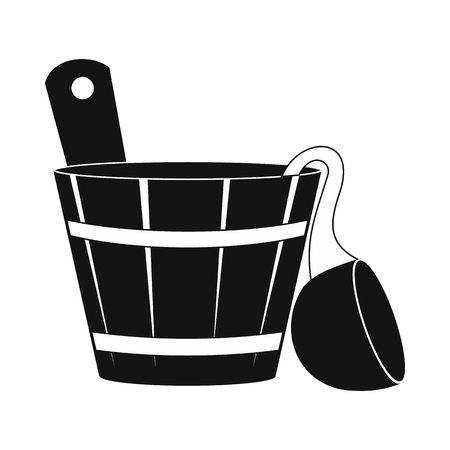 besom: Russian bath tub icon in simple style isolated on white Illustration