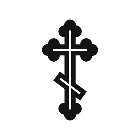 Orthodox cross icon in simple style isolated on white