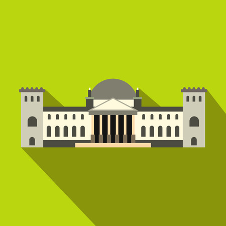 houses of parliament: German Reichstag building icon in flat style on a green background