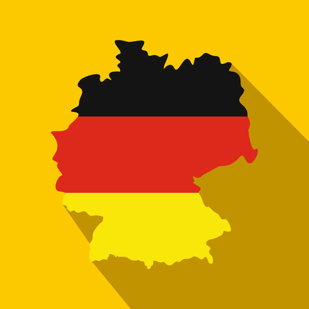 federal republic of germany: Map of Germany with flag Federal Republic of Germany icon in flat style on a yellow background Illustration