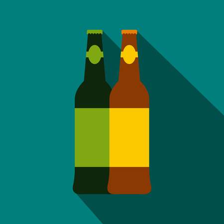 condensation on glass: Two bottles of beer icon in flat style on a blue background Illustration