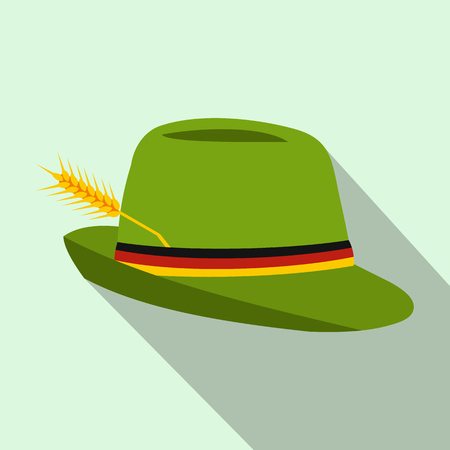 trachten: Green hat with a feather icon in flat style on a light blue background