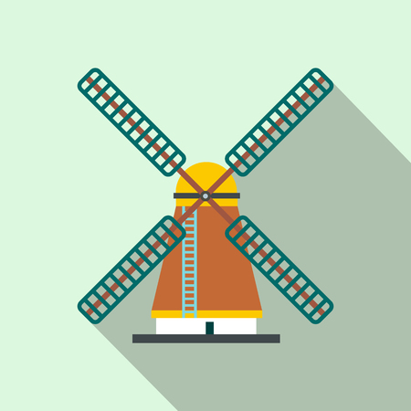 farmstead: Windmill icon in flat style on a light blue background Illustration