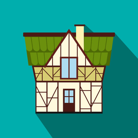 timbered: Half timbered house in Germany icon in flat style on a blue background
