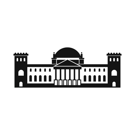 houses of parliament: German Reichstag building icon in simple style isolated on white Illustration