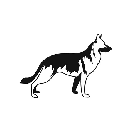German Shepherd dog icon in simple style isolated on white Vectores