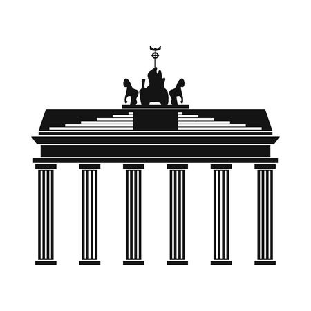 cross and eagle: Brandenburg gate icon in simple style isolated on white