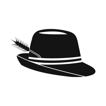 trachten: Hat with a feather icon in simple style isolated on white