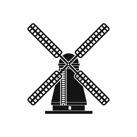 farmstead: Windmill icon in simple style isolated on white Illustration
