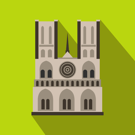 renaissance woman: Norte Dame Cathedral, Paris icon in flat style on a green background