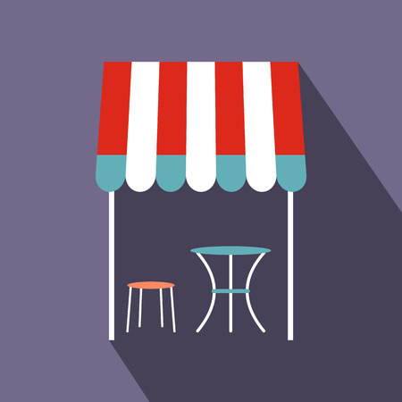 french cafe: Street french cafe icon in flat style on a violet background