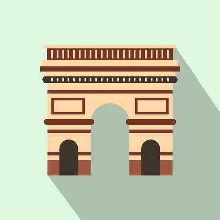 triumphal: Triumphal arch, Paris icon in flat style on a light blue background
