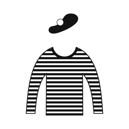 mime: Mime costume icon in simple style isolated on white Illustration