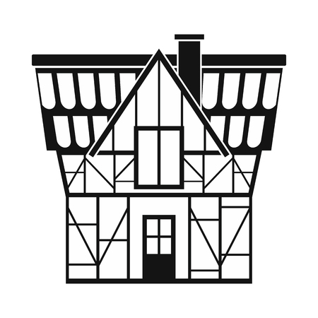 timbered: Half timbered house in Germany icon in simple style isolated on white