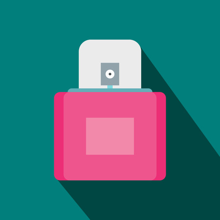 sprayer: Pink female perfume flacon with sprayer icon in flat style on a blue background Illustration
