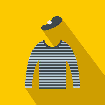 mime: Mime costume icon in flat style on a yellow background