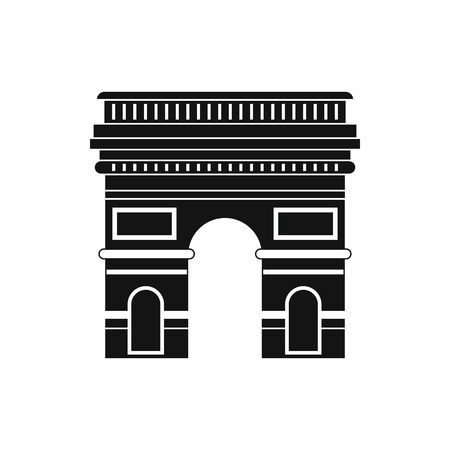 triumphal: Triumphal arch, Paris icon in simple style isolated on white Illustration