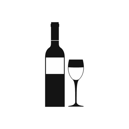 taster: Red wine bottle icon in simple style isolated on white Illustration