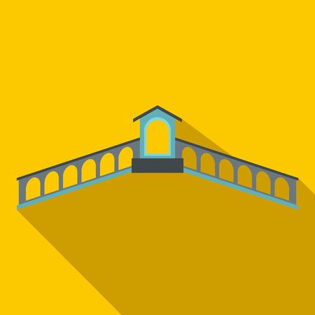 rialto: Rialto Bridge, Venice icon in flat style on yellow background