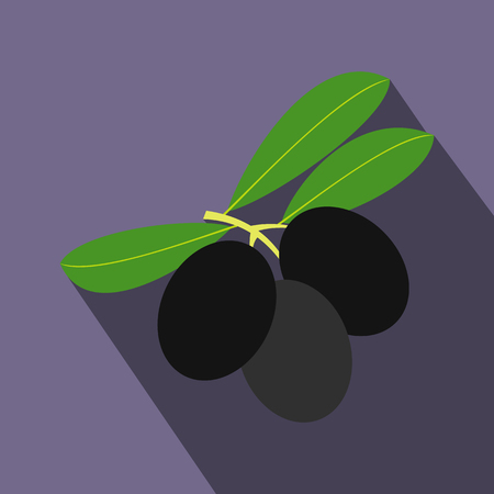 oily: Olives on branch with leaves icon in flat style on a violet background Illustration