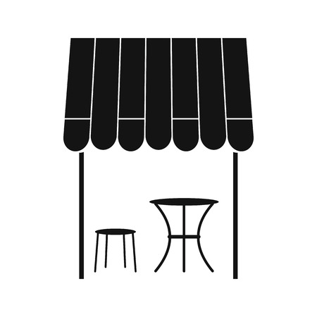typical: Street french cafe icon in simple style isolated on white