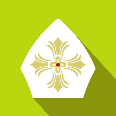 Papal tiara, hat with cross icon in flat style on a green background