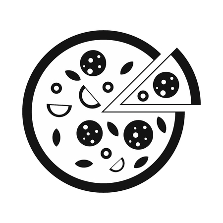 melted cheese: Pizza icon in simple style isolated on white Illustration