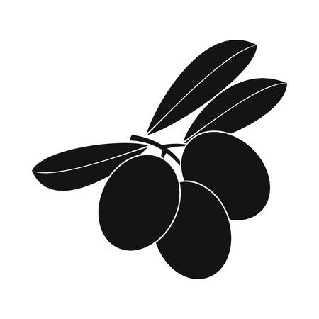 italienisches essen: Oliven auf Zweig mit Blättern Symbol in einfachen Stil isoliert auf weiß