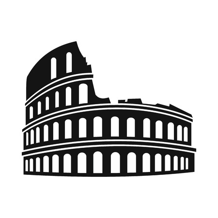 Roman Colosseum icon in simple style isolated on white