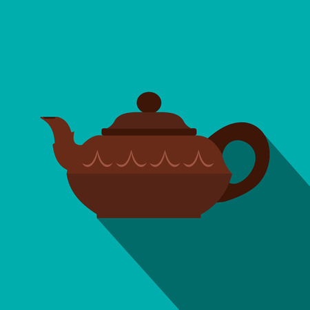 chinese teapot: Chinese brown teapot icon in flat style on a blue background