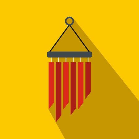 melodic: Wind chimes icon in flat style on yellow background Illustration