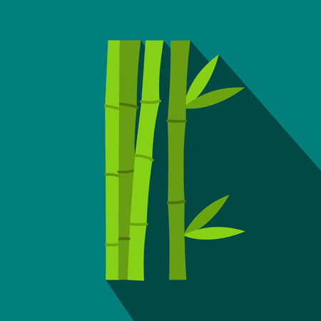 fengshui: Green bamboo stems icon in flat style on a blue background