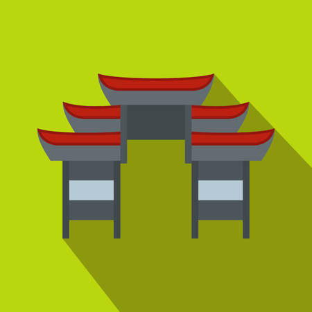 chinese temple: Chinese temple icon in flat style on a green background
