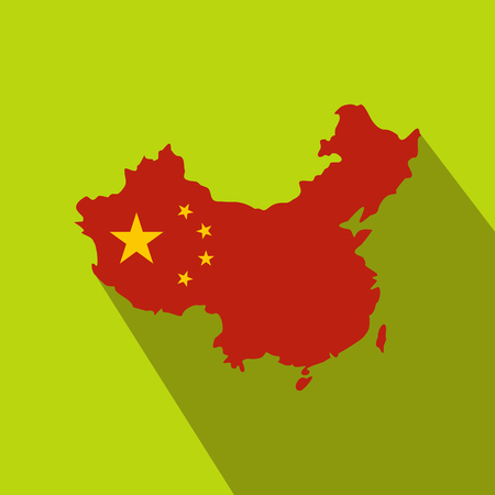 cartographer: Map of China with national flag icon in flat style on a green background Illustration